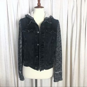 Free People Black Washed Button Front Jean Jacket